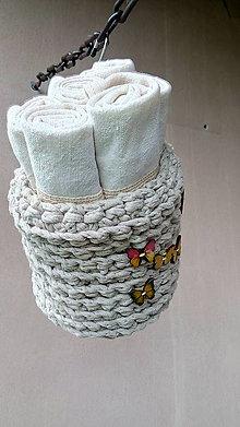 Úžitkový textil - 6 ľanových utierok v háčkovanom košíčku - 10750496_