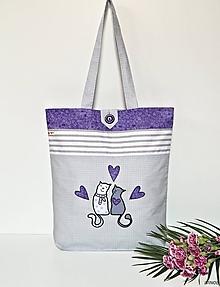 Nákupné tašky - Nákupná taška - s mačičkami fialová - 10750318_
