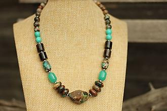Náhrdelníky - Masívny náhrdelník z mixu minerálov - regalit, jadeit, achát - 10749045_