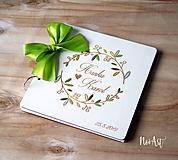 Papiernictvo - Svadobná kniha hostí, drevený fotoalbum - venček11 - 10754154_