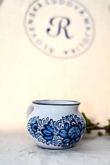Nádoby - Modrý baňatý hrnček - 10751900_