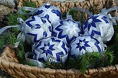 Dekorácie - Patchworkové gule - Modro strieborný set - 10752712_