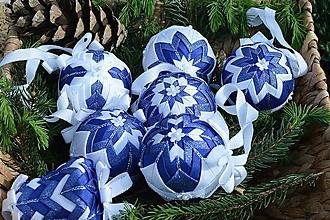 Dekorácie - Patchworkové gule  - Modro-biely set - 10752289_