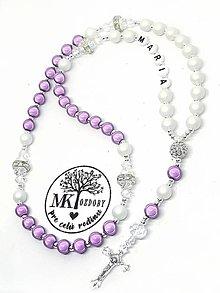 Iné šperky - Žiarivý ruženec bez shamballa  (Fialový s matnou bielou) - 10754201_