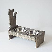 Pre zvieratká - Stolík na misky pre mačičky (Hnedá) - 10752836_