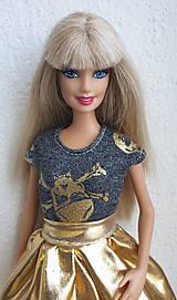 Hračky - Šedé tričko so zlatým pre Barbie - 10753382_