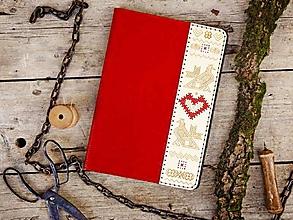 Na tablet - Knižkové puzdro Folk pre iPad červené - 10752031_