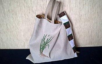 Veľké tašky - Ľanová taška KLASIK - výšivka a patchwork - 10752018_