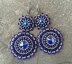 "Náušnice - Dlhé modro-biele Swarovski náušnice ""Royal folk"" - 10754101_"