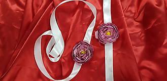 Náramky - Bielo-fialový kvetinový náramok/opasok - 10753012_