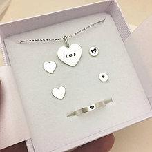 Náušnice - Valentínky (prívesok + náušky + prstienok) - 10752940_