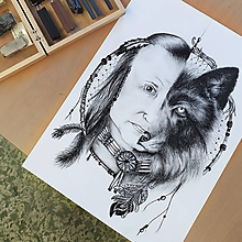 Kresby - Vlk napoly s indiánom - 10754757_