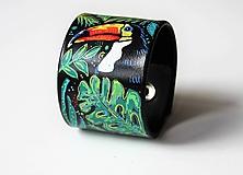 Náramky - Tukan, kožený ručně malovaný náramek - 10751638_