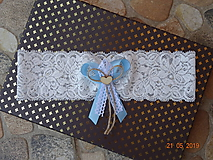 Bielizeň/Plavky - Vintage ivory podväzok svetlomodrá mašlička - 10752417_