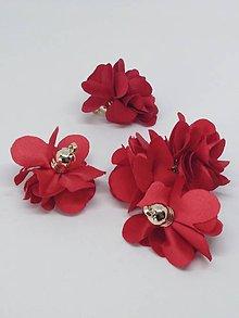 Polotovary - Textilné kvety - pár (Červená) - 10753532_
