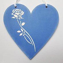 Dekorácie - Srdiečko - Ruža na modrom - 10753080_