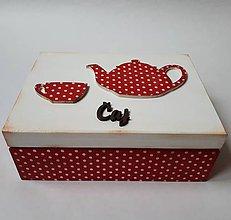 Krabičky - Retro bodkovaná krabička na čaj - 10753116_