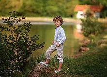 Detské oblečenie - Ľanové chlapčenské nohavice  - 10754754_