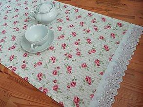Úžitkový textil - středový ubrus růžičkový - 10755497_