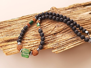 Šperky - Náhrdelník láva, rudraksha a morský jaspis - 10757666_