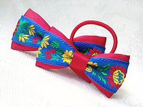 Iné doplnky - Folklórny set (pánsky motýlik + mašlička do vlasov) - 10755792_