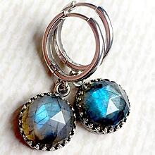 Náušnice - Faceted Labradorite Earrings AG 925 / Strieborné náušnice s modrým brúseným labradoritom - 10756618_