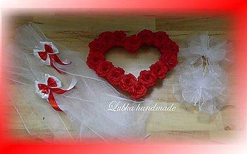 Dekorácie - Výzdoba svadobného auta - srdce + šerpa (Červená) - 10758140_