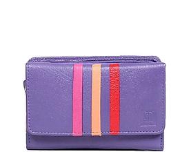 Peňaženky - Dámská fialová kožená peňaženka - 10756667_