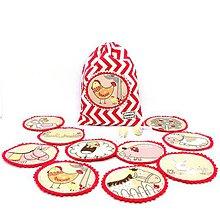 Hračky - PEXESO - DOMÁCE ZVIERATKÁ, NA FARME ovál (10 párov/20 kartičiek) (červené) - 10758267_