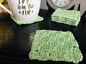 Úžitkový textil - Podložky pod šálky štvorec - 6ks/sada (Zelená) - 10756259_