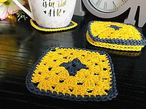 Úžitkový textil - Podložky pod šálky granny - 6ks/sada (Žltá) - 10756326_
