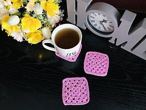 Úžitkový textil - Podložky pod šálky štvorec, ružové - 4ks/sada - 10756370_