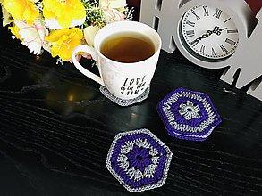 Úžitkový textil - Podložky pod šálky hexagon - 6ks/sada (Fialová) - 10756455_