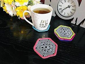 Úžitkový textil - Podložky pod šálky hexagon - 6ks/sada (Šedá) - 10756461_