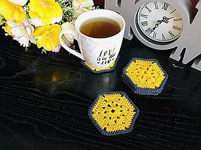 Úžitkový textil - Podložky pod šálky hexagon - 6ks/sada (Žltá) - 10756476_