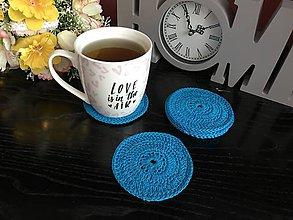 Úžitkový textil - Podložky pod šálky kruh - 6ks/sada (Modrá) - 10756527_