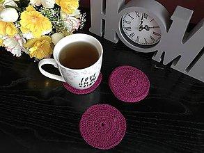 Úžitkový textil - Podložky pod šálky kruh - 6ks/sada (Bordová) - 10756534_