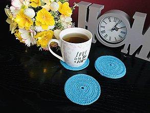 Úžitkový textil - Podložky pod šálky kruh, tyrkysová - 5ks/sada - 10756580_