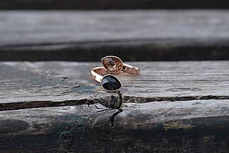 Prstene - Strieborný prsteň s ružovým zlatom Turmalín - 10755217_