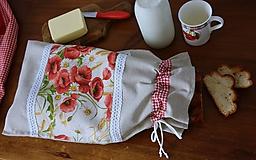 Úžitkový textil - Vrecko na chlieb - maky - 10755838_