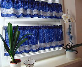 Úžitkový textil - Záclony z modrotlače - 10755639_