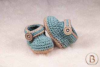 31b9a31fe2986 Topánočky - Papučky pre bábätko/šalviovo-krémové - 10756905_