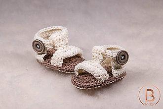 Topánočky - Sandálky štýlovky/smotanové - 10757052_