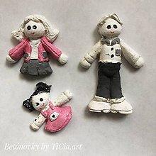 Dekorácie - 3 betónové postavičky z kolekcie pre dievčatko - 10755204_