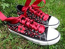 Obuv - čierna s červenou - 10755291_