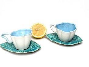 Nádoby - Šálka v tvare kvetu modrá s tanierikom - 10756777_