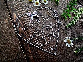 Dekorácie - veľké srdce svadobné  (strieborné) - 10755184_