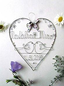 Dekorácie - veľké srdce svadobné  (s ornamentom) - 10755195_