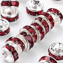 Korálky - Rondelky 6mm, 10 ks (tmavá červená) - 10755644_
