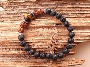 Šperky - Náramok láva, rudraksha a tigrie oko - 10759145_